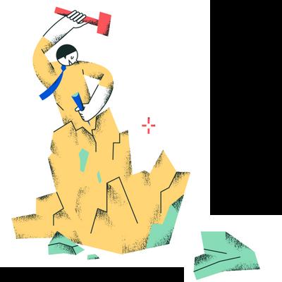 Скульптор высекающий из породы скульптуру