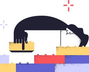 Иллюстрация, на которой человек собирает стену из разноцветных кирпичиков