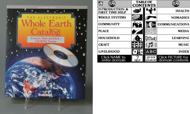 Фото диска и скриншот интерфейса Whole Earth Catalog
