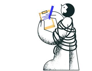 Иллюстрация человека, делающего записи в планшет