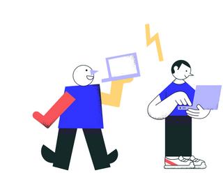 Иллюстрация людей с ноутбуками в руках