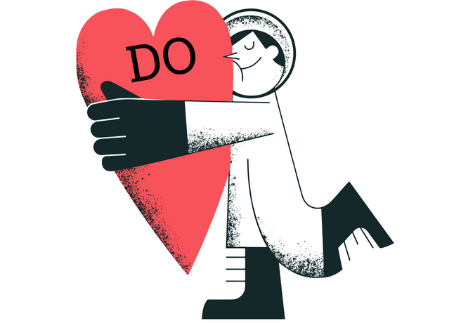 A man hugging a heart with «Do» written on him