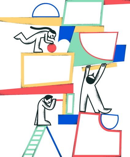 Abstract image of people working together