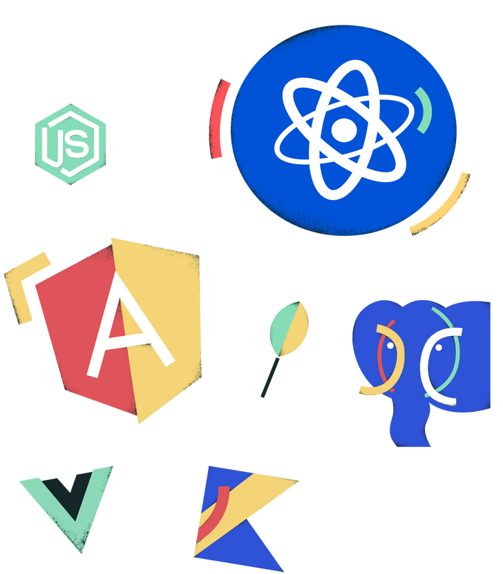 We use React, Angular, and Vue for the most projects.