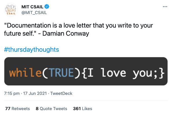 A tweet about documentation