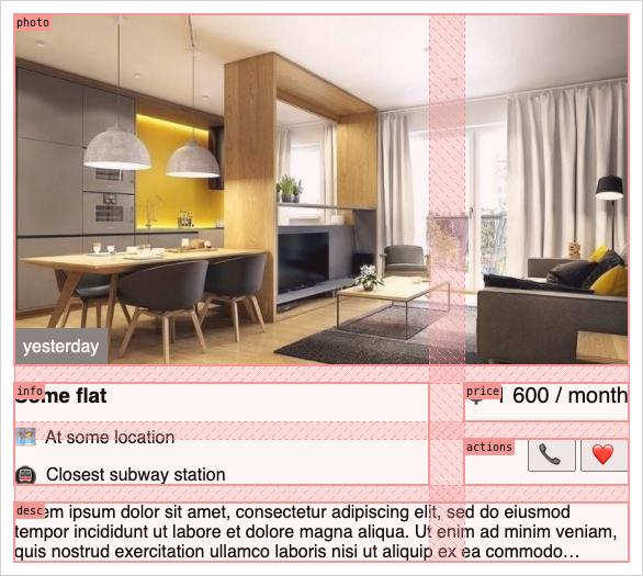 Карточка аренды квартиры, размер M