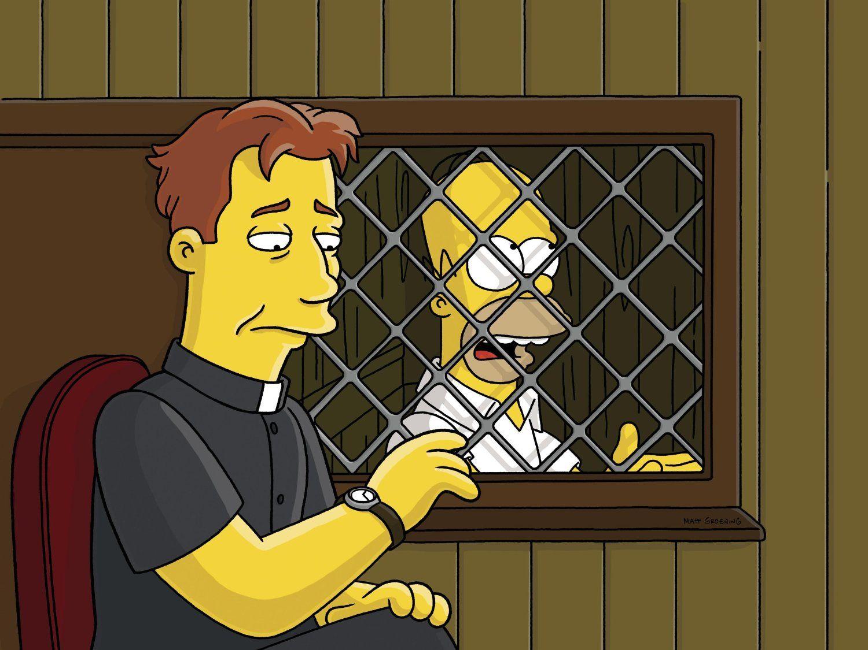 Гомер Симпсон исповедуется священнику в церковной кабинке