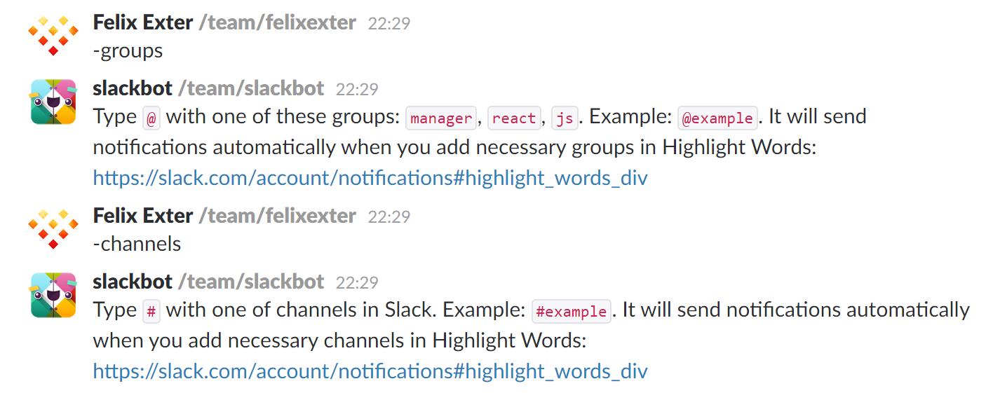Пример сообщения бота в slack
