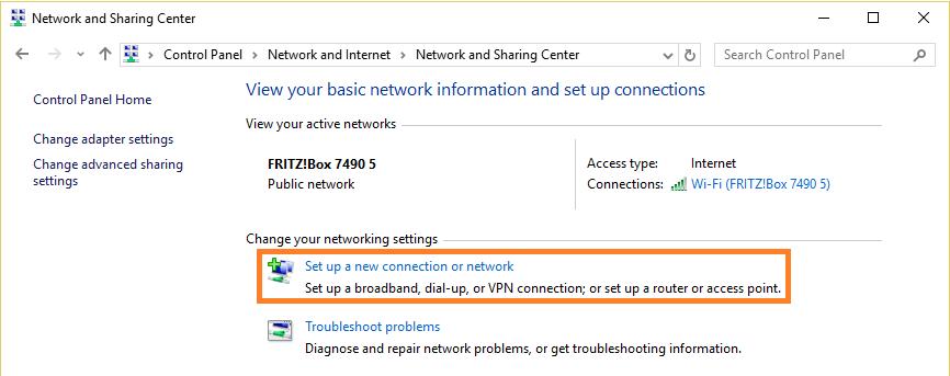 Скриншот окна настройки подключения к сети в Windows