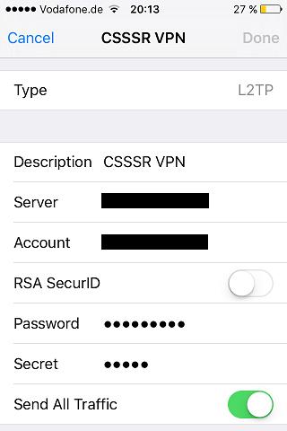 Скриншот настройки подключения L2TP на iOS устройстве